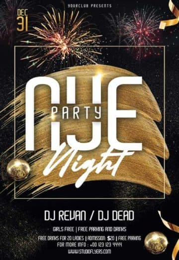 NYE Night Party Free Flyer Template