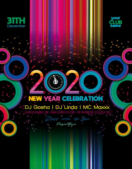 New Year 2020 Celebration Free Flyer Template