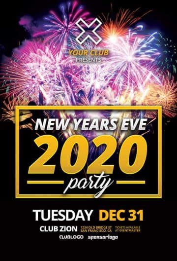 New Years Eve 2020 Free Flyer Template