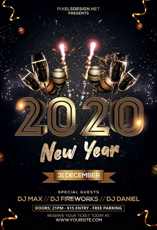 New Years Eve 2020 Free Party Flyer Template