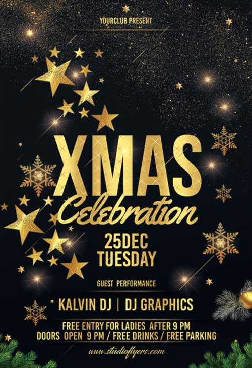 X-Mas Celebration Free Party Flyer Template