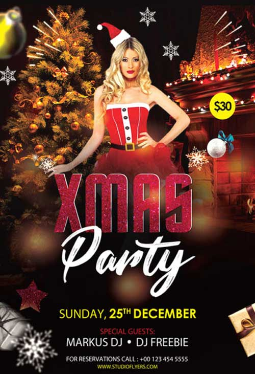 X-Mas Club Party Free Flyer Template