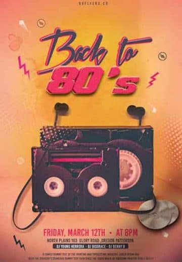 Back to 80's Party Free Flyer Template