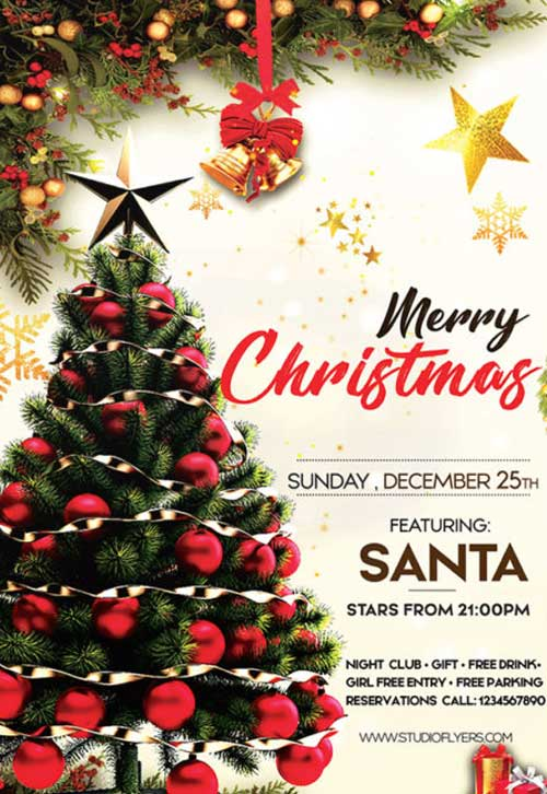 Christmas Day Party Free Flyer Template