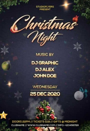 Christmas Night Party Free Flyer Template