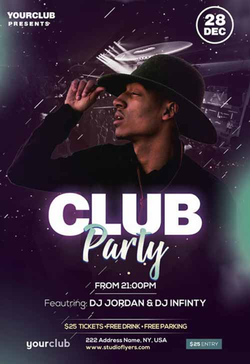 Club DJ Party Night Free Flyer Template
