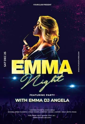DJ Emma Event Free Flyer Template
