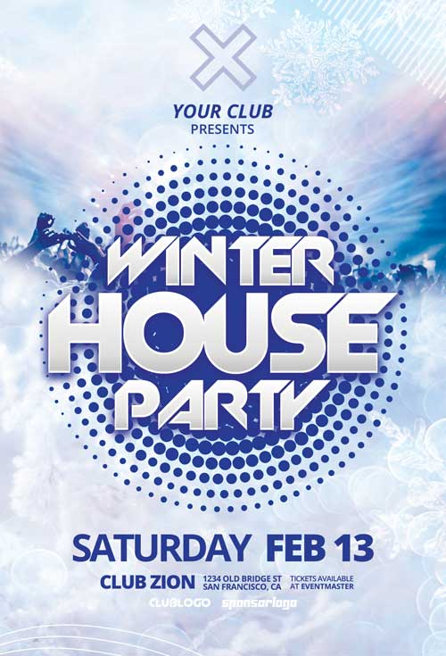 Winter House Party Free Flyer Template