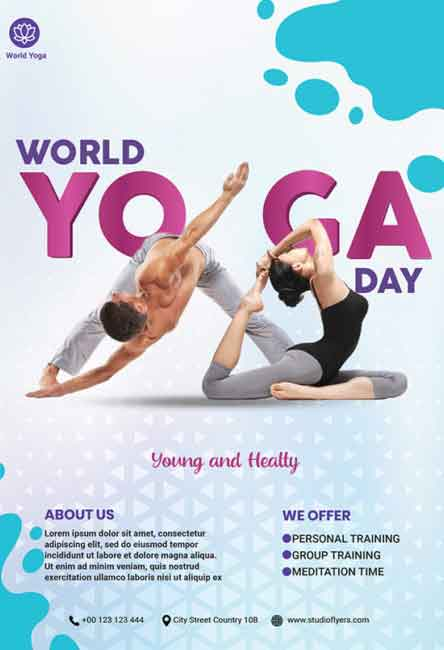Free Yoga Day Flyer Template