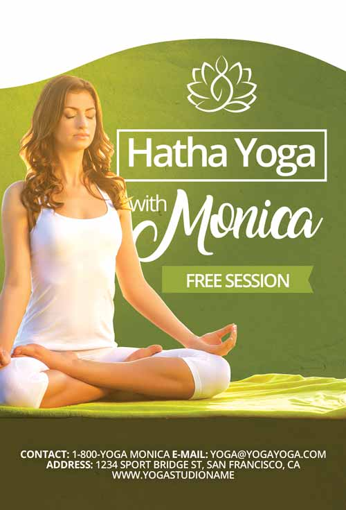 Free Yoga Lessons Flyer and Poster Template