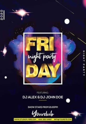 Friday Night Party Free Flyer Template