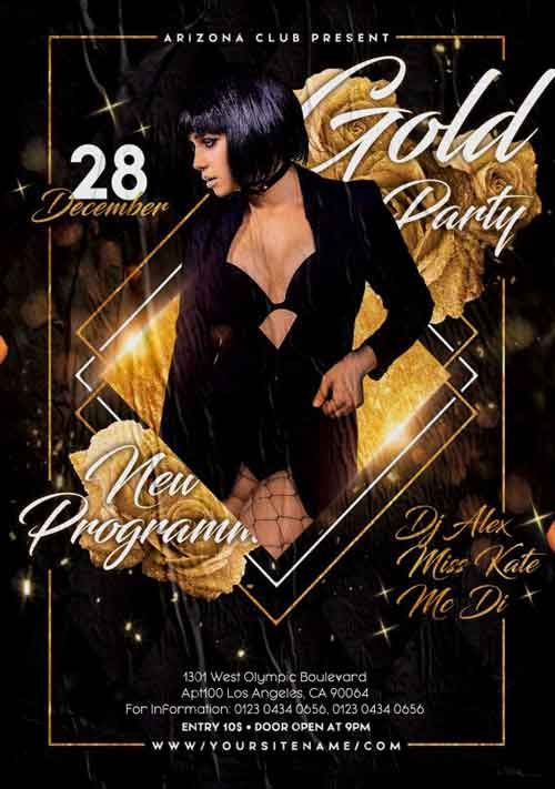 Golden Night Party Free Flyer Template