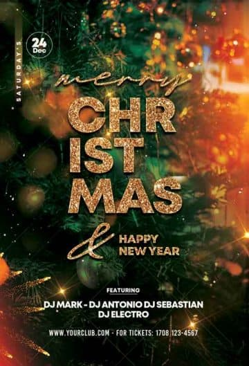 Merry Christmas Celebration Free Flyer Template