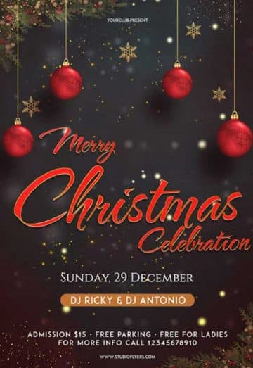 Merry Christmas Celebration Party Free Flyer Template