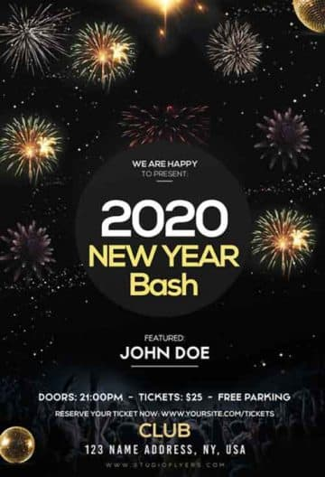 New Year Bash 2020 Free Flyer Template