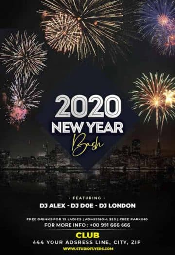 New Year Bash Party Free Flyer Template