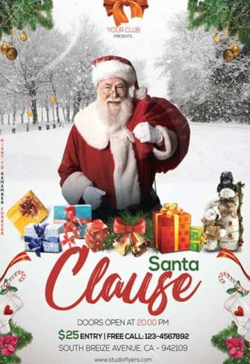Santa Clause Christmas Party Free Flyer Template