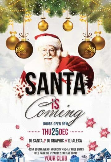Santa is Coming Event Free Flyer Template