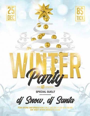 Winter Party Event Free Flyer Template