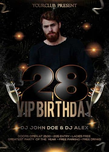 Birthday VIP Party Free Flyer PSD Template