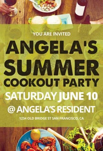 Summer Cookout Party Free Flyer Template