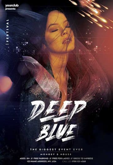 Deep Blue Club Free Flyer Template