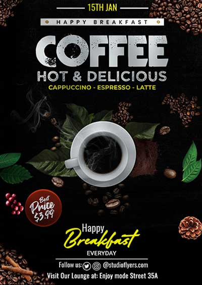 Delicious Coffee Free Flyer Template
