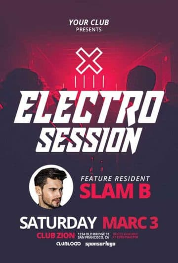 Free Electro DJ Club Session Flyer Template