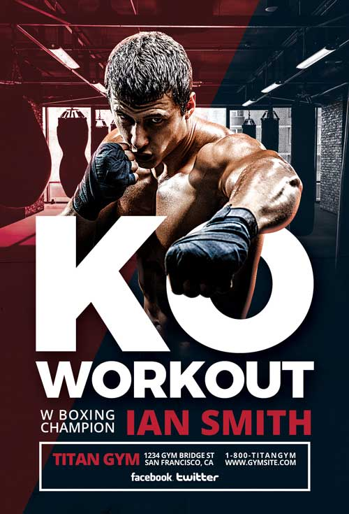 Boxing Sports Free Flyer Template