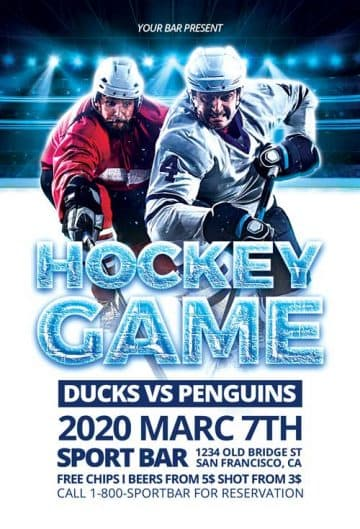 Free Ice Hockey Flyer PSD Template