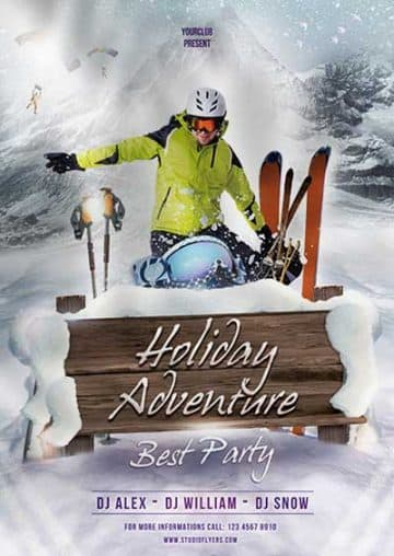 Free Winter Ski Adventure Flyer Template
