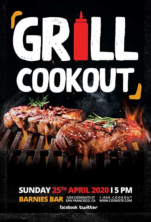 Grill Cookout Free Flyer Template