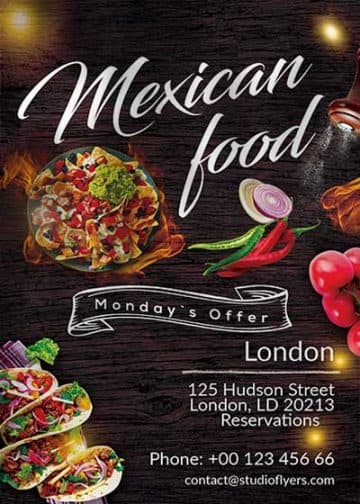 Mexican Food Restaurant Free Flyer Template