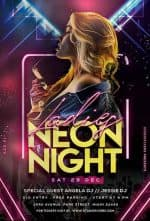 Neon Ladies Night Free Flyer Template