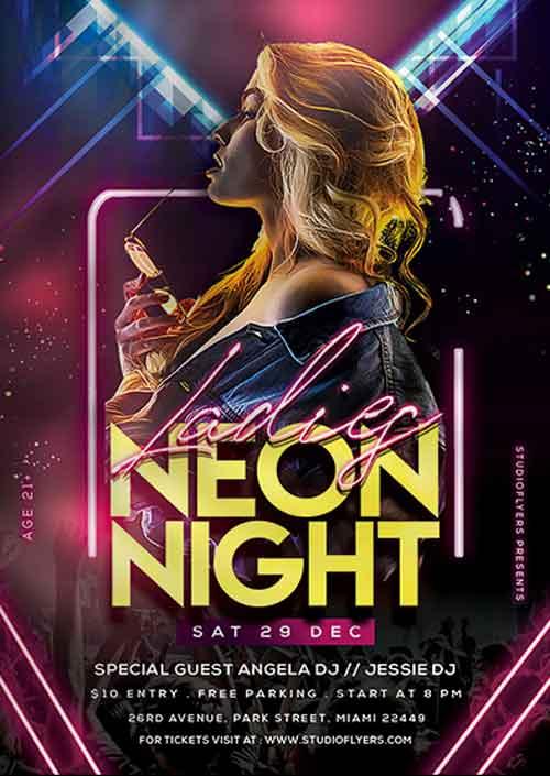 Neon Ladies Night Free Flyer Template