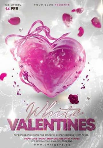 Pink Valentines Party Free PSD Flyer Template