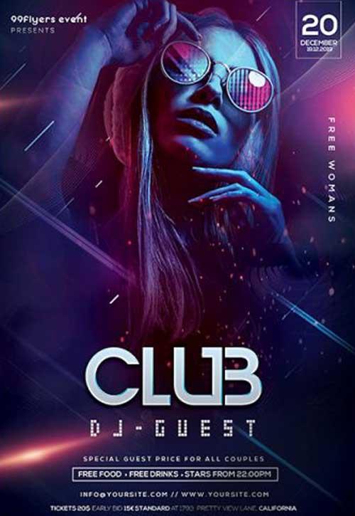 Club DJ Night Party Free Flyer Template