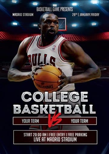 College Basketball Free Flyer Template