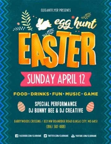 Easter Egg Hunt Party Free Flyer Template