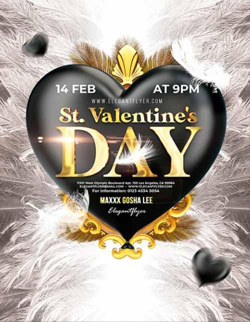 Elegant V-Day Party Free Flyer Template