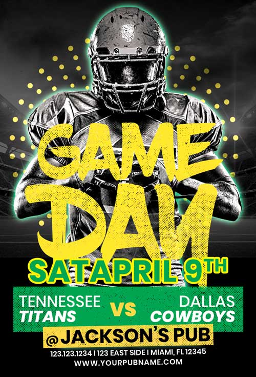American Football Game Free Flyer Template