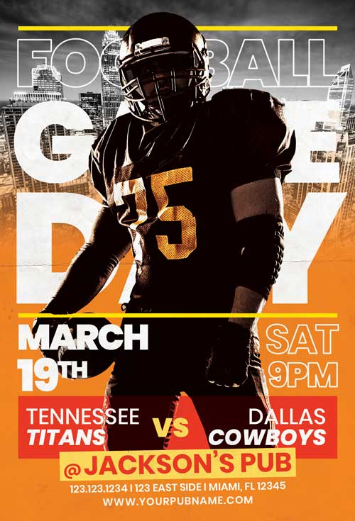 Free American Football Championship Flyer Template