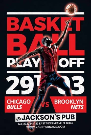 Free Basketball Playoffs Flyer Template
