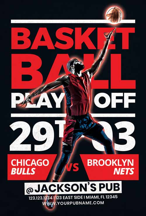 Free Basketball Playoffs Flyer Template