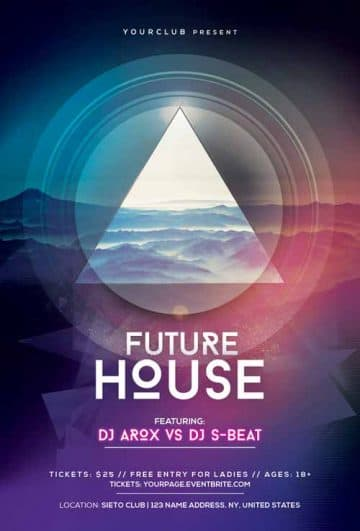 Future House Club Free PSD Flyer Template