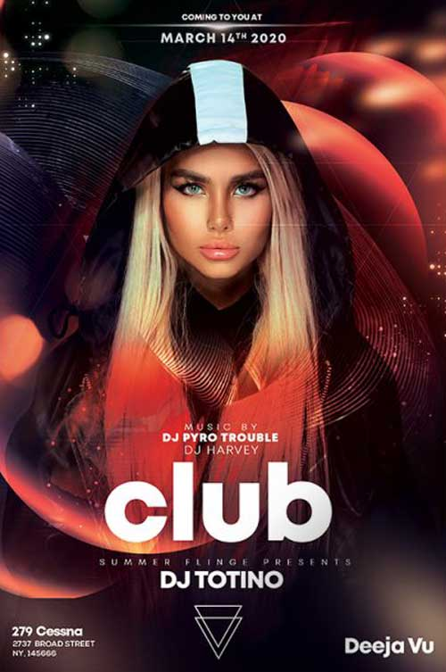 Futuristic Club Party Free Flyer Template
