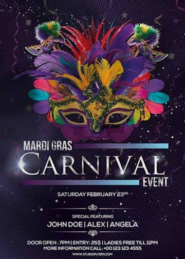 Mardi Gras Carnival Party Free PSD Flyer Template