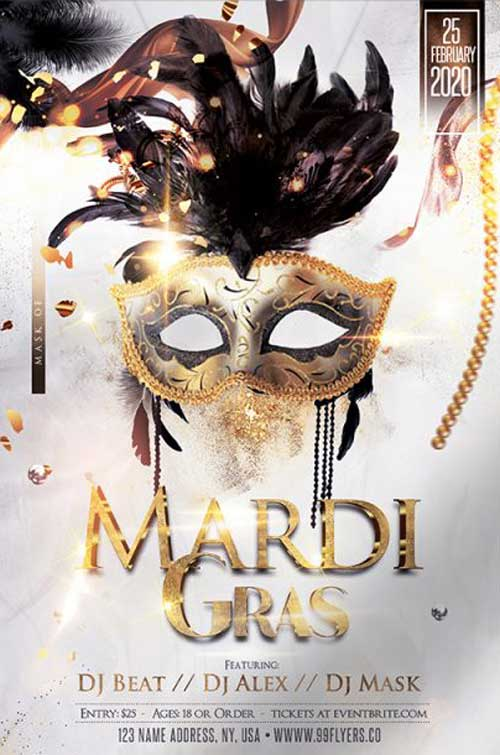Mardi Gras Celebration Free PSD Flyer Template