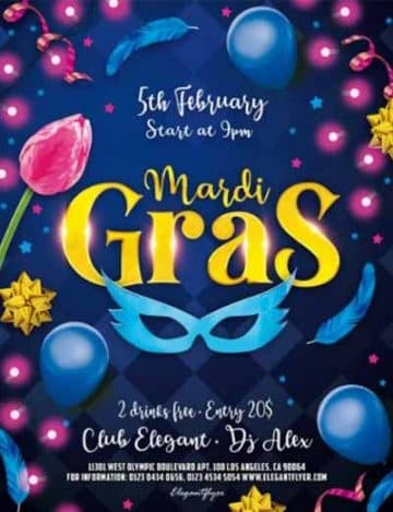 Mardi Gras Party Free Flyer Template