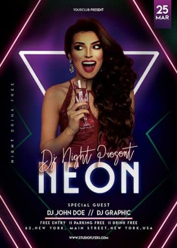 Neon Club Party Free Flyer Template